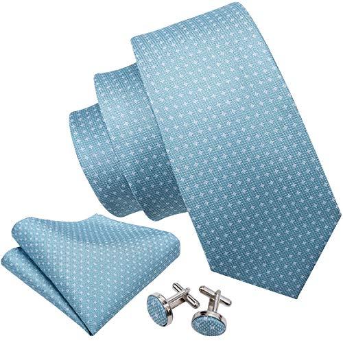 Barry.Wang Men Tie Set Polka Dot Handkerchief Cuff links Sky Blue