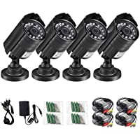 Anlapus 4 Pack 900TVL 960H Outdoor/Indoor 100FT/30M Night Vision Waterproof Weatherproof 36IR Infrared Leds Security Surveillance CCTV Cameras Kit