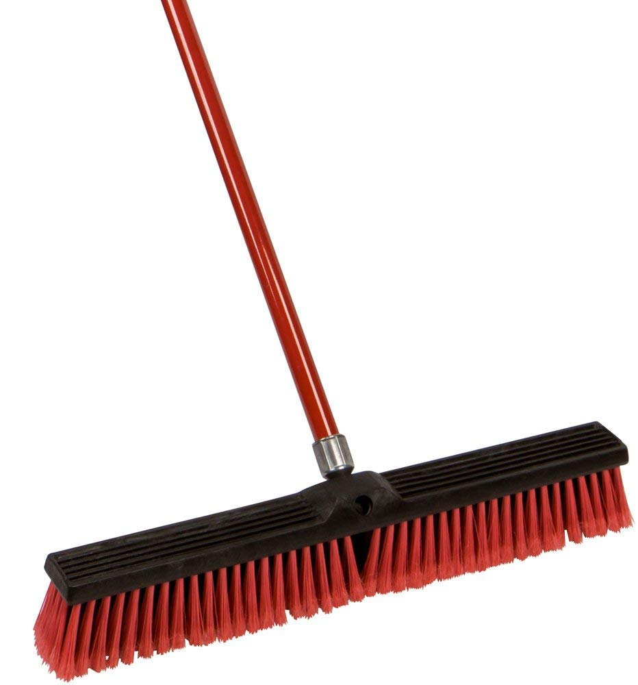 Beverly Hills Creation Large 18'' and 24'' Multi-Surface Push Broom with 49'' Alloy Handle (18'' Broom)
