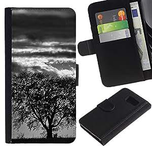 KLONGSHOP // Tirón de la caja Cartera de cuero con ranuras para tarjetas - Árbol de la tormenta - Sony Xperia Z3 Compact //