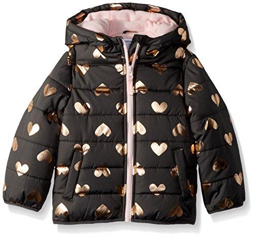 Carter's Girls' Little Fleece Lined Puffer Jacket Coat, Grey Hearts, 4