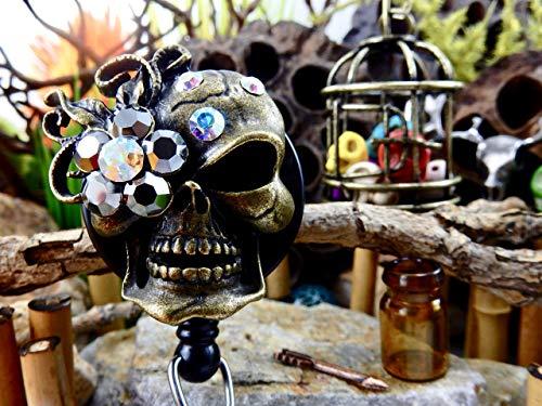 Skull Badge Reel Halloween ID Holder Sugar Skull Retractable Clip Gothic Rhinestone Skeleton Freaky Creepy Badass Spooky Day of the Dead XRAY Tech Gift for Mom Bling Crystal Dazzling ER Nurse RN 141