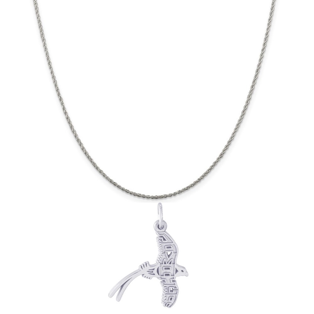 18 or 20 inch Rope Rembrandt Charms Sterling Silver Jamaica Longtail Charm on a 16 Box or Curb Chain Necklace