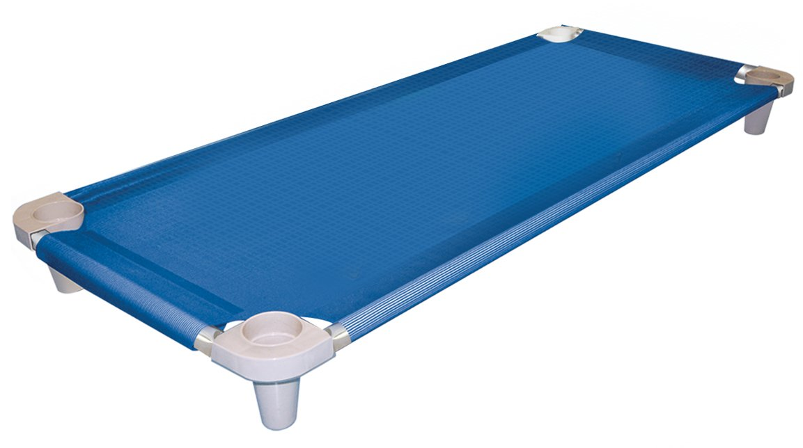 Acrimet Premium Stackable Nap Cot (Stainless Steel Tubes) (Blue Cot - Grey Feet) (1 Unit)