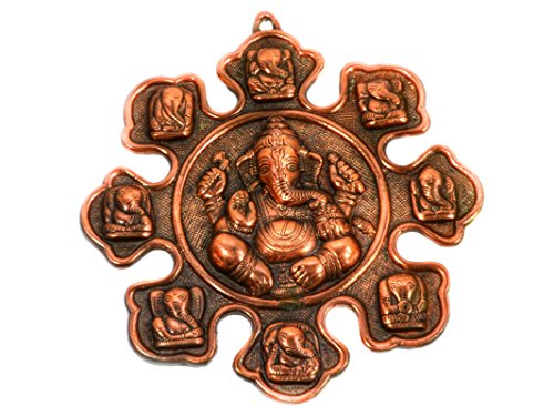 Ashtham Ganesh 12 Inches Wall Door Hanging with Copper Finish for Prosperity and Good Luck Perfect Housewarming Gift