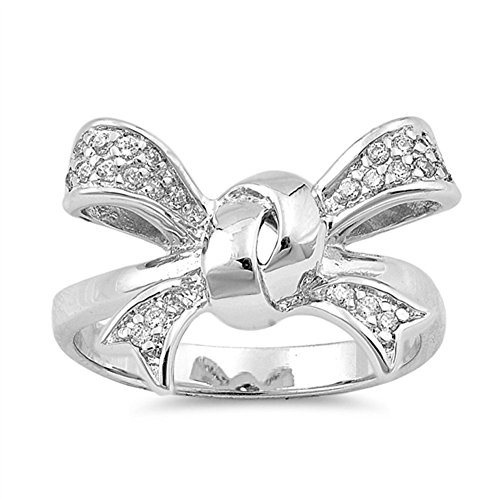 Ribbon Knot Ring (Ribbon Bow Tie Knot White CZ Cute Ring New .925 Sterling Silver Band Size 7)