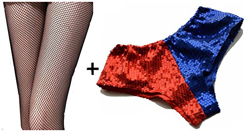 kuisen Women Red Blue Metallic Sequin Booty Shorts Harley Halloween Costume L for $<!--$9.99-->