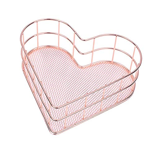 (Womdee Iron Fruit Storage Basket, Heart-Shaped Storage Basket Iron Storage Basket with Electroplating Process Technology for Cosmetic Products Fruit Stationery Jewelry Storage Rose Gold)