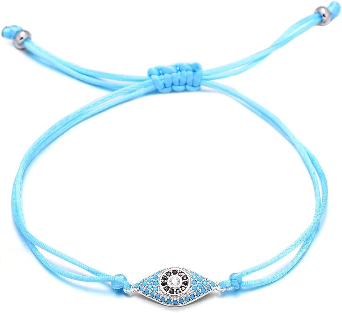 VEKNO Delicate CZ Evil Eye String Bracelets Charm Adjustable Red Rope Bracelet Women Men Jewelry