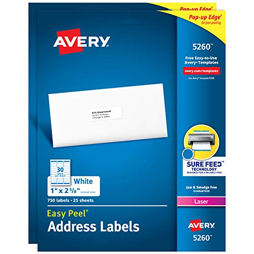 """Avery Address Labels with Sure Feed for Laser Printers, 1"""" x 2-5/8"""", 1500 Labels (2-Pack 5260)"""