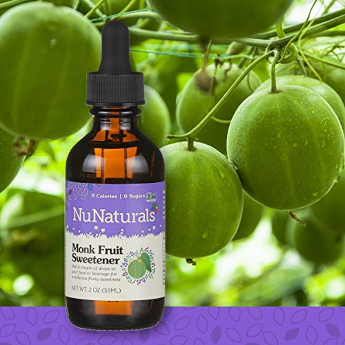 NuNaturals All Natural Liquid Monk Fruit Sugar Free Sweetener, Zero Glycemic Index, Zero Calories, 148 Servings (2 oz) (Monk Fruit Liquid)