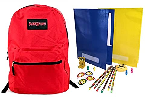 Kids Backpacks for Back to School Children Red Backpack Bookbags and Supplies Gift Bundle - Folders, Pencils, Erasers & (Rugged Bear Plush)