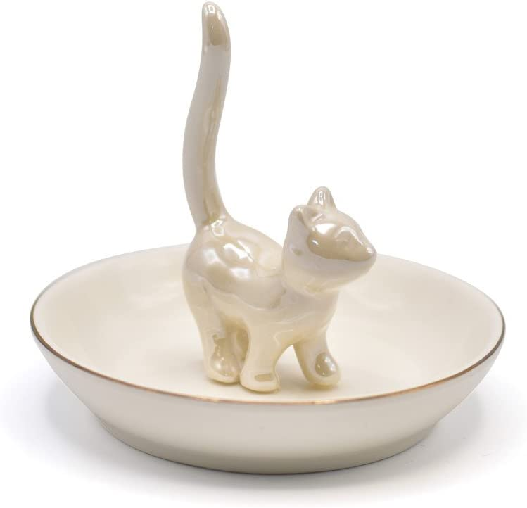 Ivory White Lucky Kitty Jewelry Tray Ceramic Trinket Dish Porcelain Cute Kitty Ring Holder for Home Decor Wedding Birthday Gifts