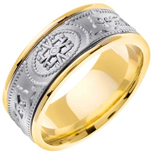 14K Two Tone Gold Celtic The One Men's Comfort Fit Wedding Band (9mm) Size-9.25c1