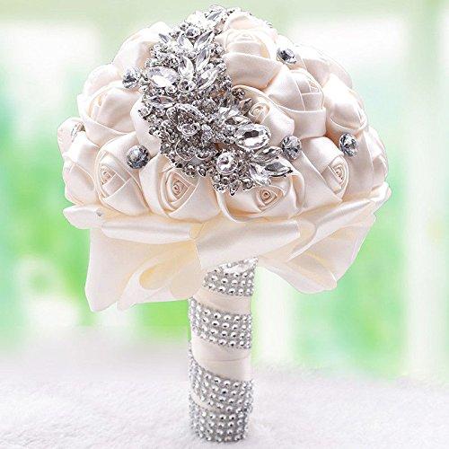 Romantic Wedding Rose Silk Flower Bridal Bouquet Pearls Rhinestone Handle G1R