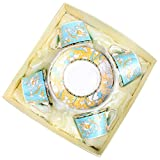 Bone China Ceramic 4 sets Tea Cup Coffee Cup,Flower,Blue And Yellow