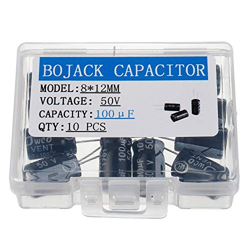 - BOJACK 8X12mm 100uF 50V 100MFD 50Voltage ±20% Aluminum Electrolytic Capacitors(Pack of 10 Pcs)