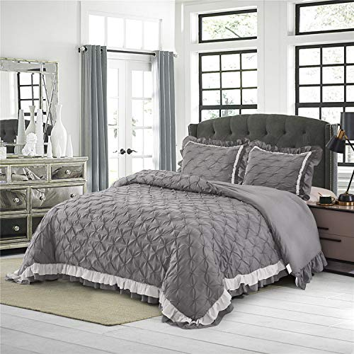 HIG Pintuck Comforter Set Queen Gray – Contrast Color Ruffled Ivory – Ultra Soft Hypoallergenic Prewashed Microfiber – Shabby Chic Farmhouse Style – 3pc Bedding Set (ELSA-Queen,Dark Gray/Ivory)