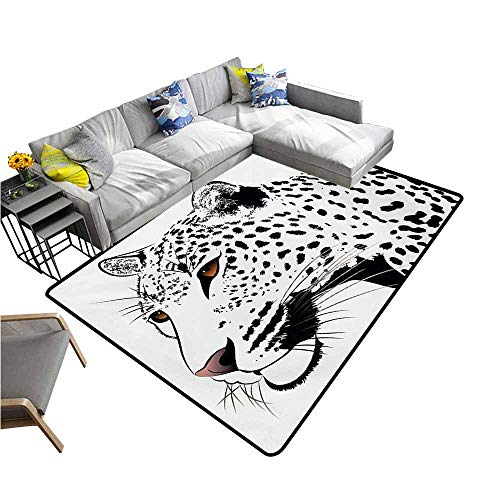 Indoor/Outdoor Rubber Mat Tattoo,Astonishing Big Cat Famous Symbol of The Courage Leopard Head with Spots Print,White and Black 36