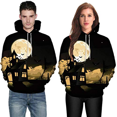 WUAI Halloween Costumes for Adults Men Women Party Dress up 3D Print Couples Slim Fit Hoodies Sweatshirt(Black ,US Size S = Tag M) -