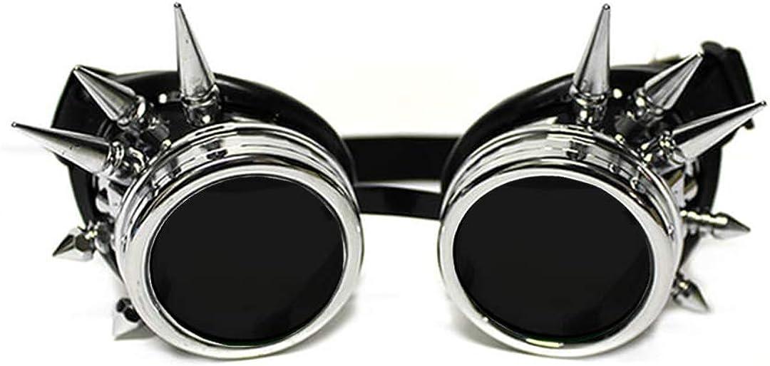 GloFX Steampunk Goggles Tinted - Rave Eyes Gothic Welder Cyber Punk (Chrome Spike)