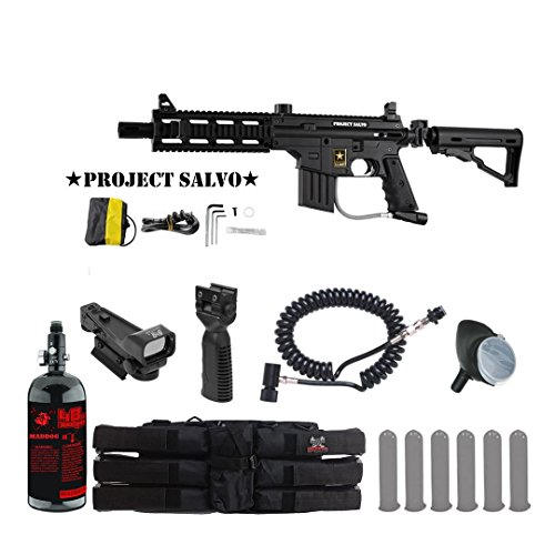 Tippmann U.S. Army Project Salvo Tactical HPA Red Dot Paintball Gun Package - Black by MAddog