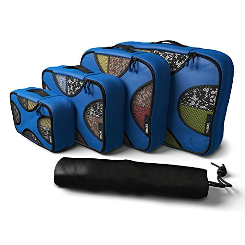 Travel Packing Organizers - Clothes Cubes Shoe Bags Laundry Pouches For Suitcase Luggage, Storage Organizer 5 Set Color Navy - Rick Steves Suitcase