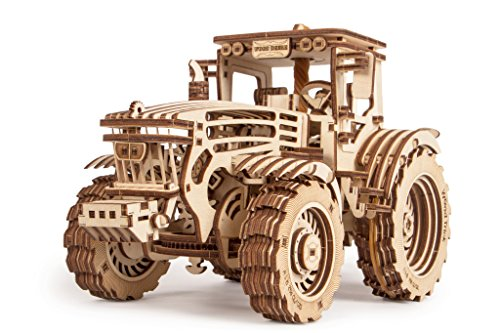 Wood Trick Wooden Mechanical Tractor Model Kit to Build for Adults and Kids - 11x7″ - Detailed and Sturdy - Rubber Band Motor - 2 Speeds - 3D Wooden Puzzle