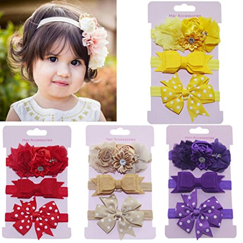 Lurryly 2018 Baby Girls'3-Pack Kids Elastic Floral Headband Hair Princess Accessories Bowknot Hairband Set (0-5 Years, Light Purple) by Lurryly (Image #2)