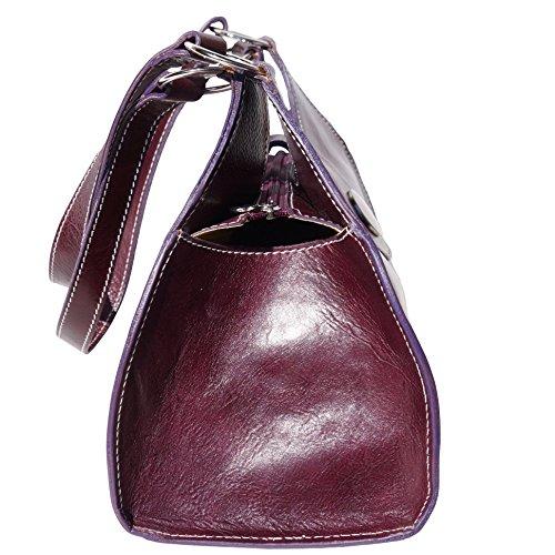 Borsa a mano Florina GM con doppi manici in pelle lucida e conciata al vegetale - 6418 - Borse in pelle Viola