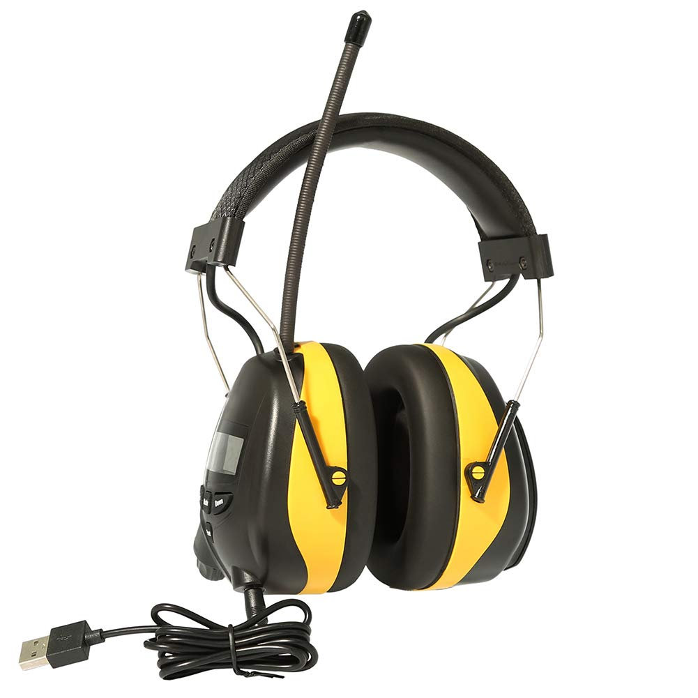 GIMGEM Ear Hearing Protection AM FM Radio Headphones with Bluetooth Technology,1200mAh Large Capacity Rechargeable Lithium Battery,NRR 25dB Noise Reduction Safety Work Ear Muffs,Come with Work Gloves by GIMGEM (Image #3)
