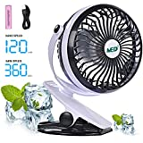 Mini Battery Operated Clip Fan,Sall Portable Fan Powered by Rechargeable Battery or USB Desk Personal Fan for Baby Stroller Car Gym Workout Camping,Black