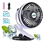 Image of Mini Battery Operated Clip Fan,Sall Portable Fan Powered by Rechargeable Battery or USB Desk Personal Fan for Baby Stroller Car Gym Workout Camping,Black