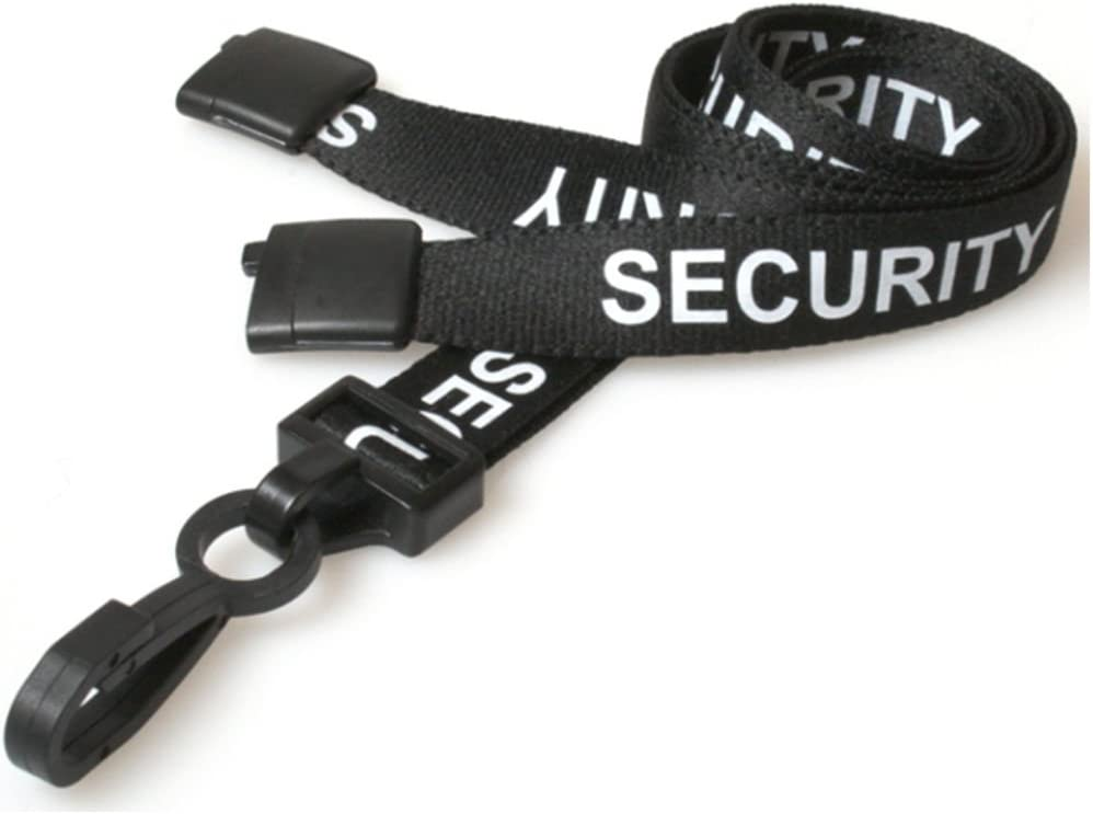 LOT 100 NECK STRAPS LANYARD WITH HOOK BLACK 100 CLEAR VINYL ID BADGE HOLDERS