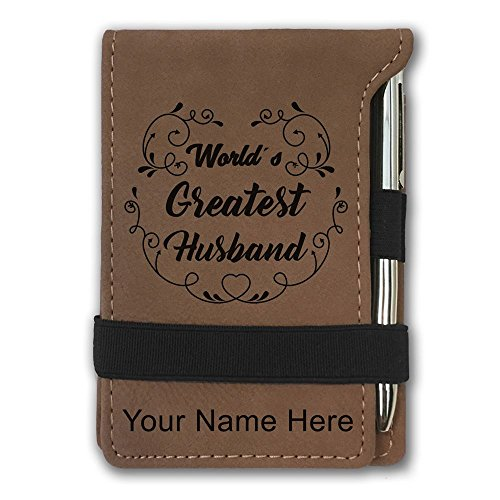 Mini Notepad, World's Greatest Husband, Personalized Engraving Included (Dark Brown) by SkunkWerkz