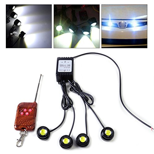 (beler 4 in 1 12V Car Emergency Eagle Eye Hawkeye LED Strobe Light Lamp DRL Wireless Remote Control Kit)