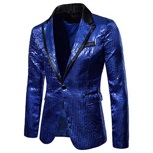 RAINED Men's Sequin Lapel Blazer Jacket Fashion Costumes One Button Fit Suit Coat Plus Size Vintage Party Tops Suit ()