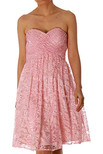 MACloth Strapless Short Lace Bridesmaid Dress Evening Cocktail Party Gown (EU36, Lavanda)