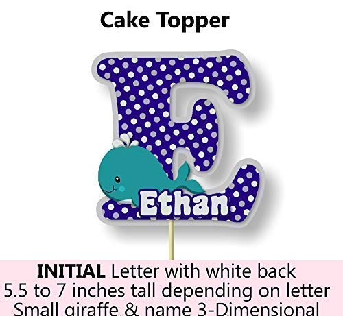 BCPCustom Personalized Navy Whale Baby Shower or Birthday Party Decorations for Boy Banner with Optional Cake Topper Centerpiece Handmade in USA Sign Thank You Cards Favor Tags or Stickers