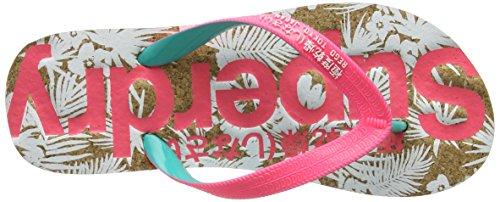 Superdry Printed Cork - Sandalias de dedo Mujer Multicolore (Fluro Pink/Fluro Turq/Optic)