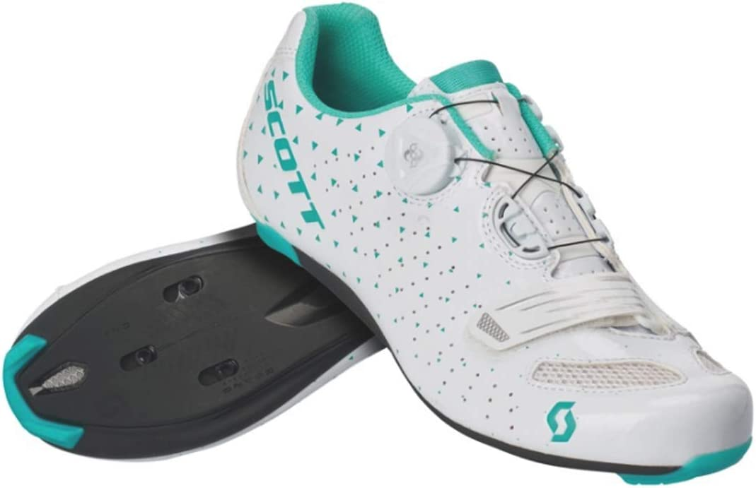 SCOTT Road Comp BOA Lady Cycling Shoe - Women's Gloss White/Turquoise Blue, 41.0