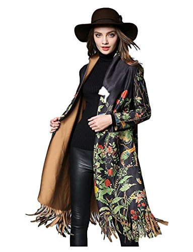 MoonShine Clothing Long Sleeve Chinese Floral Print Slim Cardigan Long Coat Winter Faux Suede Fabric Tassel Trench Coat (Black, Large) - Embroidered Suede Leather Coat