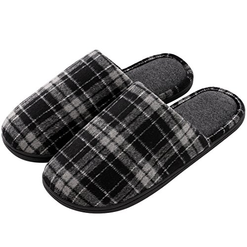 RockDove Mens Plaid Woolen Fabric Memory Foam Slipper w/Warm Fleece Lining (11-12 D(M) US, Dark Gray) by RockDove