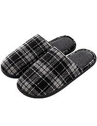 Men's & Women's Comfy Plaid Memory Foam Slippers Soft Fleece Lined House Shoes w/Non-Skid Rubber Sole