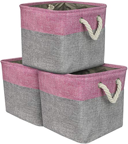 Sorbus Cube Storage Bins Basket Set [3-Pack] Large Square Cube Fabric Collapsible Organizer Bin with Cotton Rope Carry Handles for Linens, Toys, Clothes (Pink)