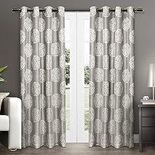 Exclusive Home Curtains Akola Medallion Linen Jacquard Grommet Top Window Curtain Panel Pair, Dove Grey, 54x84