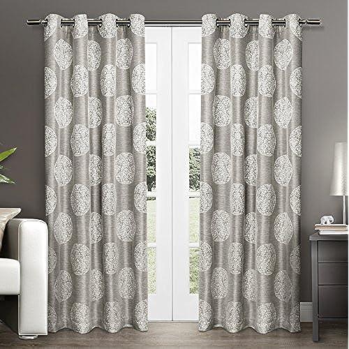 Grey Medallion Curtain Panels Amazon Com