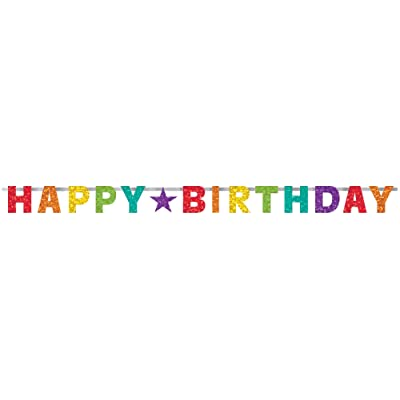 Happy Birthday Prismatic Rainbow Letter Banner - 1 pc: Toys & Games