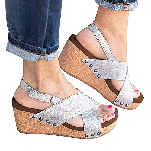 Athlefit Women's Strap Wedges Sandals Platform Faux Leather Cork High Heels Size 5.5 Silver (Jeans Silver Jeans Leather)