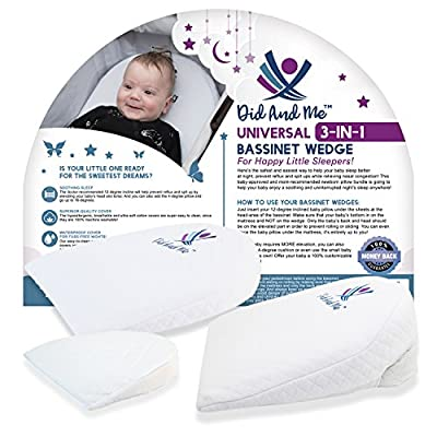 3-in-1 Universal Bassinet Wedge – Elevated Sleeping Pillow Helps Newborn Babies with Acid Reflux, Congestion, Colic – Adjustable Cushion Supports Healthy Sleep and Eating + Carrying Case by Did and Me